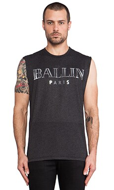 Brian Lichtenberg Ballin Muscle Tee in Charcoal & Silver