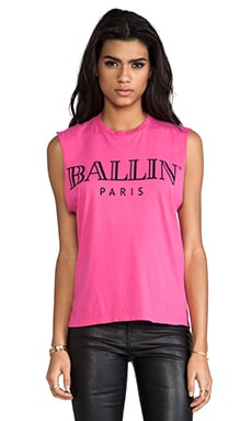 Brian Lichtenberg Ballin Muscle Tee in Hot Pink/Black