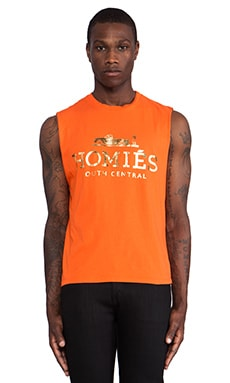 Brian Lichtenberg Homies Muscle Tee in Orange & Gold Foil