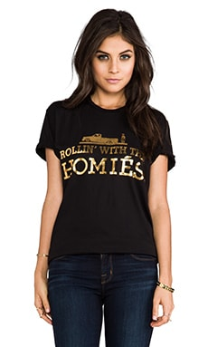 Rollin' with the Homies Tee in Black/Gold Foil