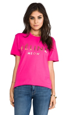 Brian Lichtenberg T-shirt Feline en Rose/Or Brillant