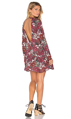 Lily Mini Dress en Maroon Floral