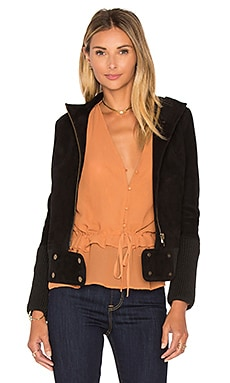 Azalea Suede Biker Jacket in Black