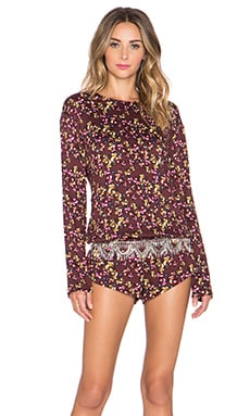 BEACH RIOT Crimson Floral Long Sleeve Romper in Crimson Floral
