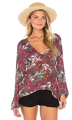 Sage Blouse in Maroon Floral