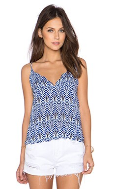 BEACH RIOT Hacienda Scalloped Tank in Azul