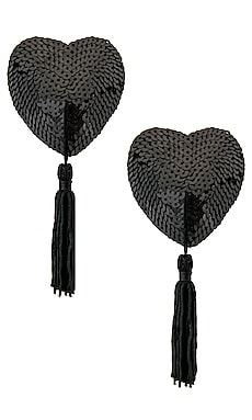 Black Sequin Hearts With Black Tassels Bristols6 $25 (ФИНАЛЬНАЯ РАСПРОДАЖА)