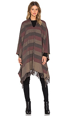 Brixton Vanguard Poncho in Red & Black