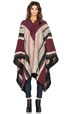 Brixton Barry Poncho in Bone & Black