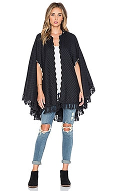 Brixton Junie Hooded Poncho in Black