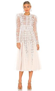 Megan Bridal Midi Dress Bronx and Banco $595 NEW