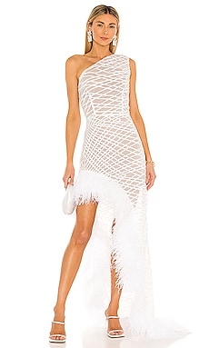 Lola Blanc Sheer Feather Gown Bronx and Banco $1,275 NEW