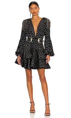 Maria Velvet Ruffle Mini Dress Bronx and Banco $550 NEW