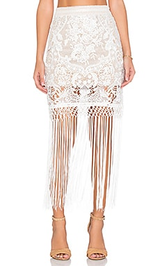 Bronx and Banco Fringe Skirt in White