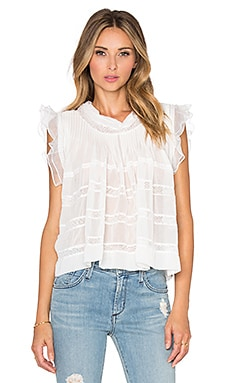 Bronx and Banco Frill Sheer Top in White