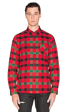 Black Scale Bedford Button Down in Red