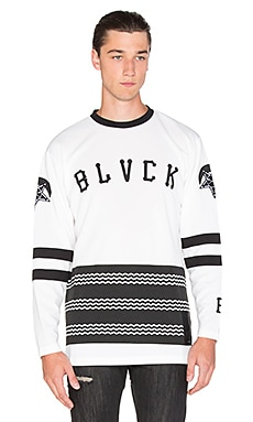 Black Scale Scale of Black Hockey Jersey in White