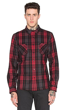 Black Scale Ocelot Button Down in Red