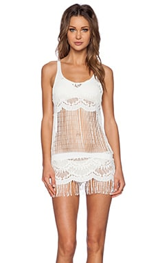 Bettinis Lace Fringe Dress in Bone