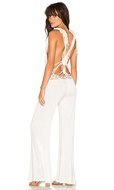 Bettinis Macrame Back V Neck Jumpsuit in Bone