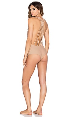 Bettinis Macrame One Piece Swimsuit in Sand