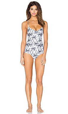 Bettinis Lace Up Back Swimsuit in Palm Print