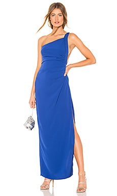 Norah Ruched Asymmetric Maxi Dress by the way. $68