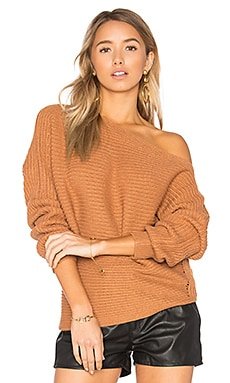 Kylie Off Shoulder Sweater in Camel