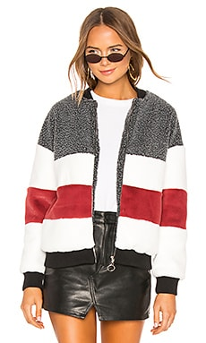 Ash Stripped Panel Faux Fur Bomber superdown $98 BEST SELLER