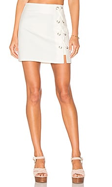 Tori Lace Up Skirt in Ivory