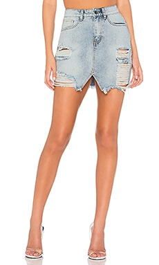 Nina Distressed Denim Skirt by the way. $34