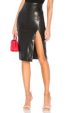Jezabel Faux Leather Midi Skirt superdown $58
