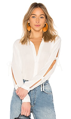 Gemini Tie Sleeve Button Up Top