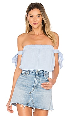 Ora Off Shoulder Top in Baby Blue