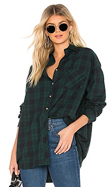 Audriana Oversized Flannel Top superdown $80