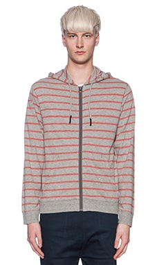 Burkman Bros. Full Zip Hooded Fleece in Grey Red
