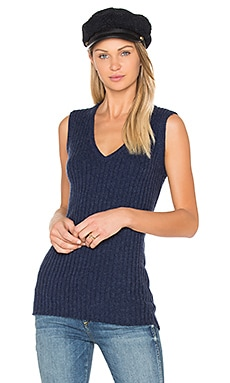Rib Sleeveless Sweater in Velvet Blueprint Marl