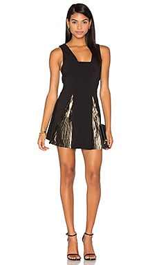By Johnny Foil Fringe Panel Dress in Black Gold