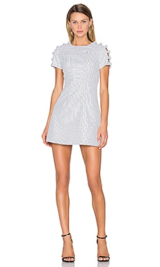 Knot Sleeve Link Swing Dress in White Black