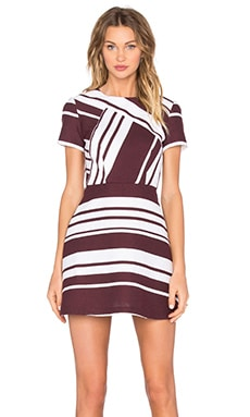 Pinot Stripe Mini Dress in Burgundy & White