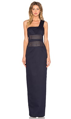 By Johnny Mesh Panel Sharpened Gown in Navy