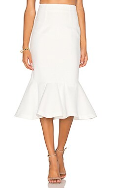 By Johnny Waffle Drop Flare Skirt in Ivory