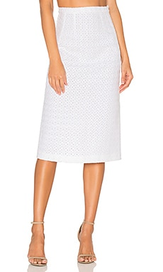 Marthe Lace Pencil Skirt in White