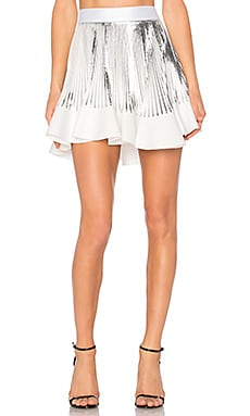Pleat Flute Mini Skirt in White & Silver