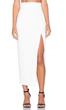 By Johnny Side Slice Midi Skirt in White