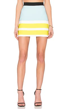 By Johnny Powder Citron Mini Skirt in Blue & White & Citron