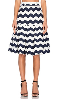 Zag Box Skirt in White & Navy & Mandarin