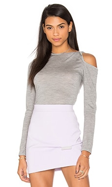 Merino Twist Sleeve Knit Top in Grey