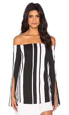 By Johnny Veritgo Cape Stripe Top en Noir & Blanc