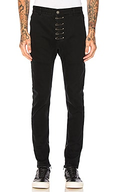 Pinned Drop-Crotch Zipper Pants
